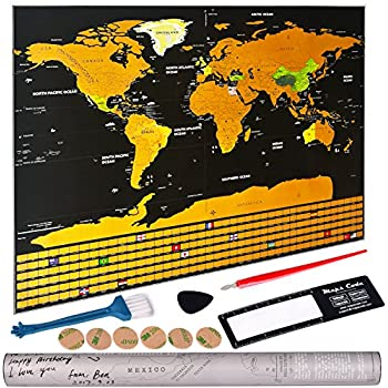 Amazon scratch off world map with us states country flags by scratch off world map personalized travel tracker map with us states all country flags gumiabroncs Gallery