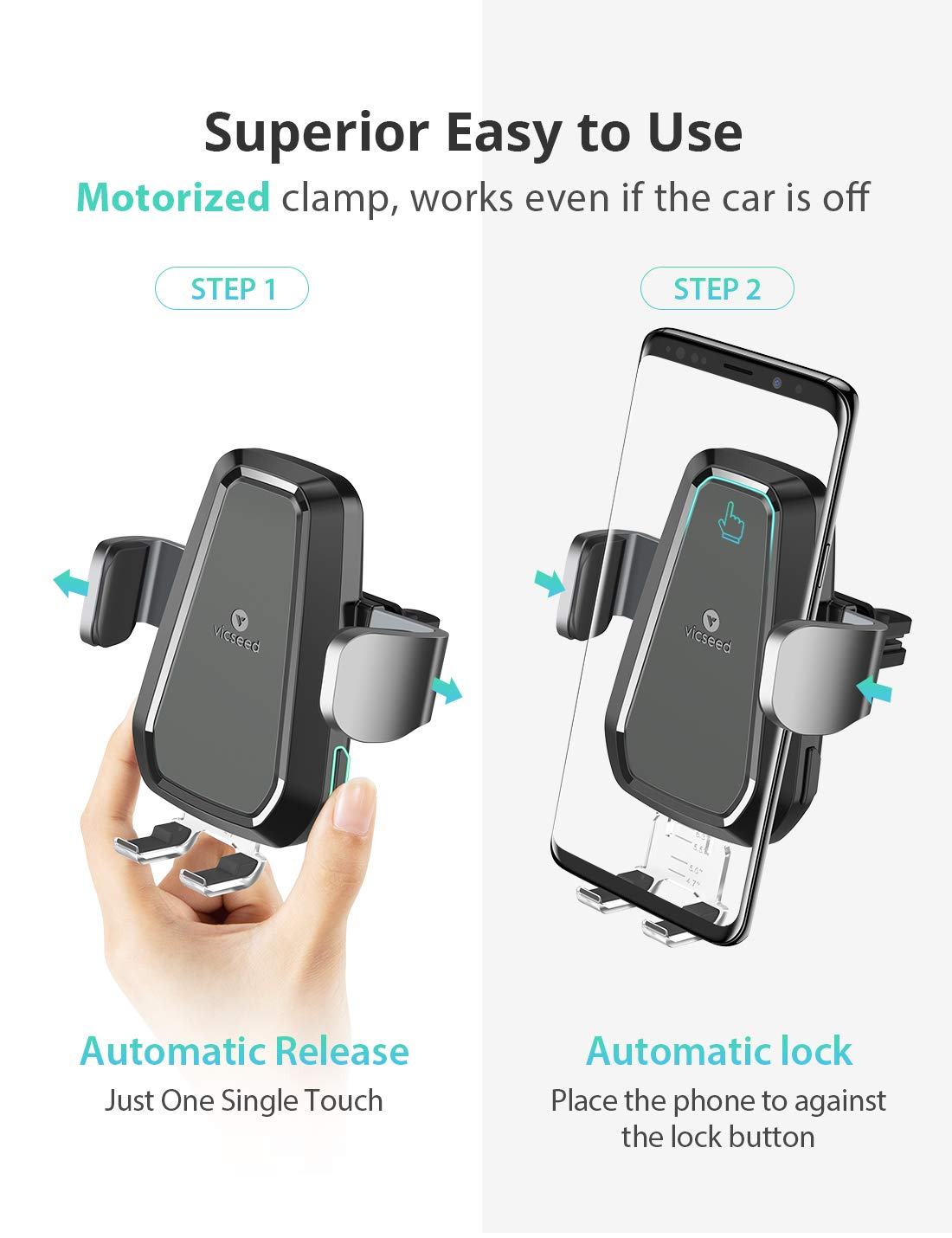VICSEED Wireless Car Charger,10W Fast Charging, Wireless Charging