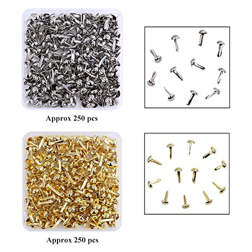 Scrapbooking Brads Metal (besttoyhome 500 Pieces Mini Small Paper Fasteners Brass Plated Scrapbooking Brads Round Metal Brads with Storage Box for Crafts Making DIY, Gold and Silver)