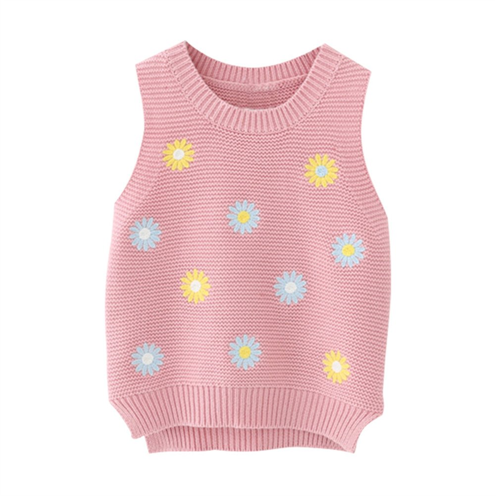 SPRMAG Kid Girl Stylish Embroidery Flower Knit Pullover Sweater Vest 3T Pink