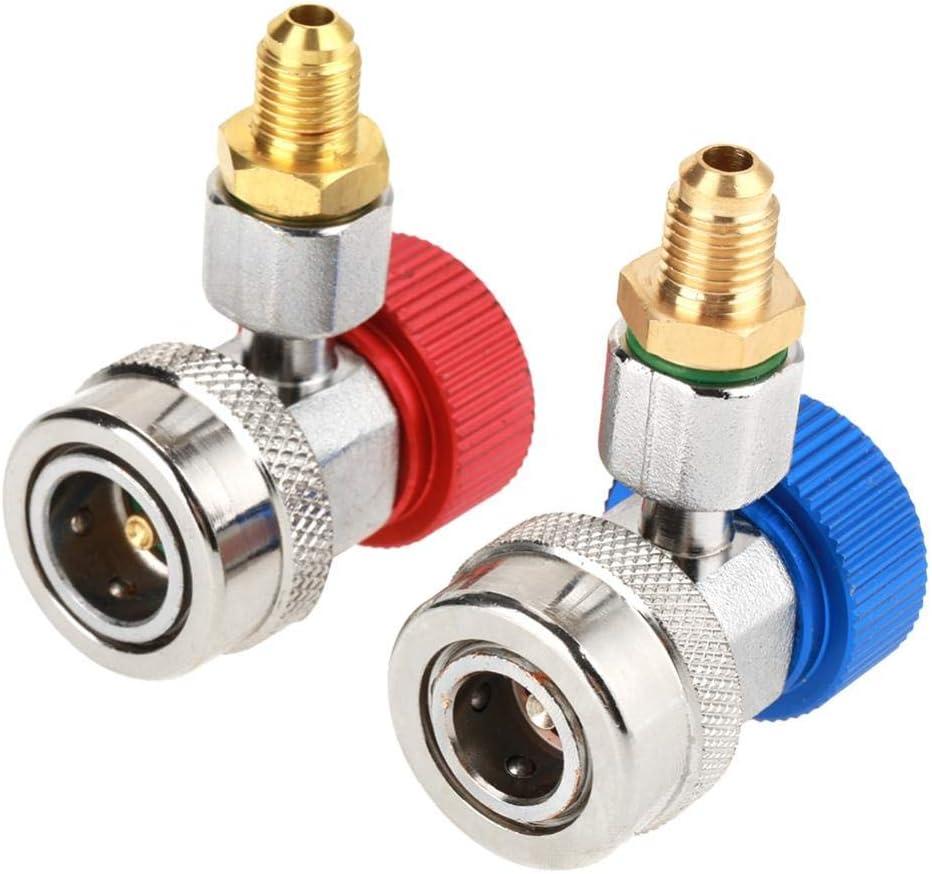 A//C Ajustable R134 Bajo//Alto Adaptador de Acoplador de Aire Acondicionado de Conector R/ápido de 1//4con Tapa para Autom/óvil Agregar Fl/úor Conector de Acoplamiento R/ápido