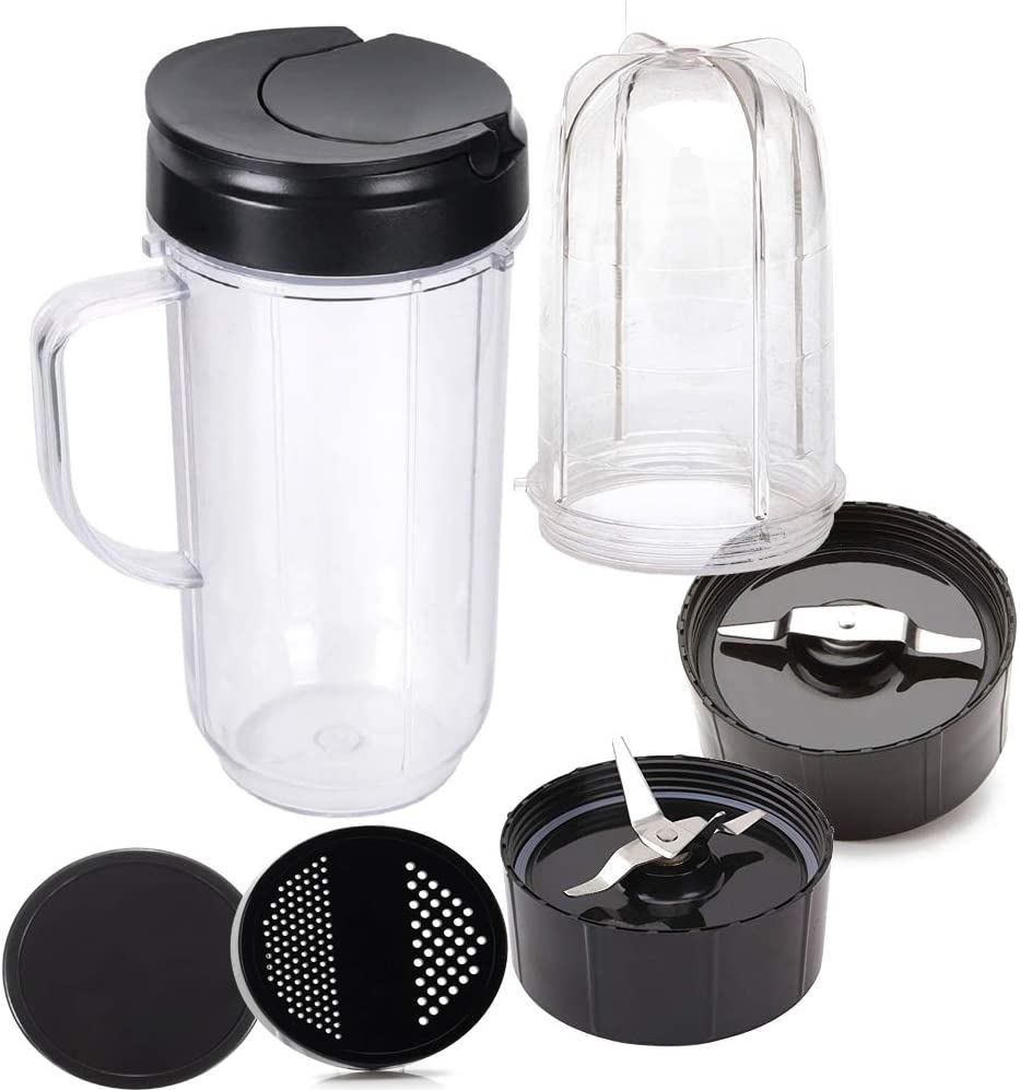 Joystar 7pcs Handled Smoothie 16/22OZ Mug Replacement cup with cross/milling blade Inculde shaker top lid,fresh lid and Flip Top Lid for Magic Bullet MB 1001 MB 1001B MBR-1101 MBR-1701 Blender