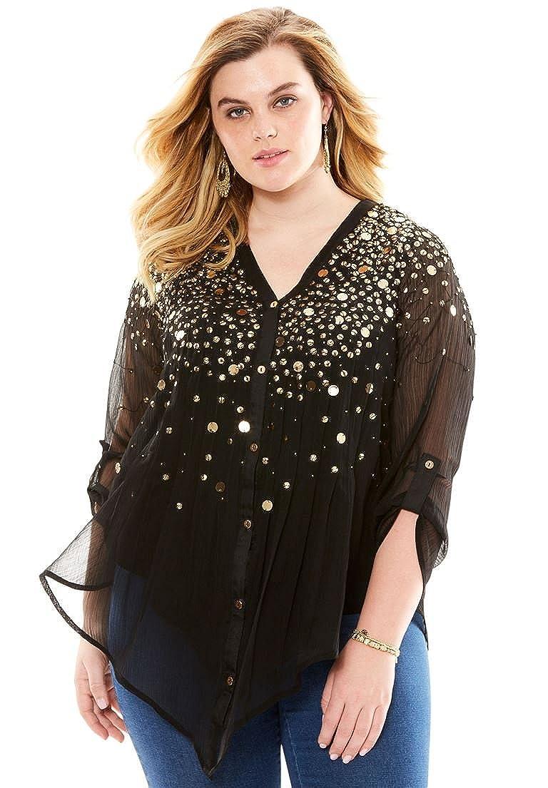 Roamans Women s Plus Size Glam-Embellished Maxi Tunic  1541004667 ... 3aac6273c