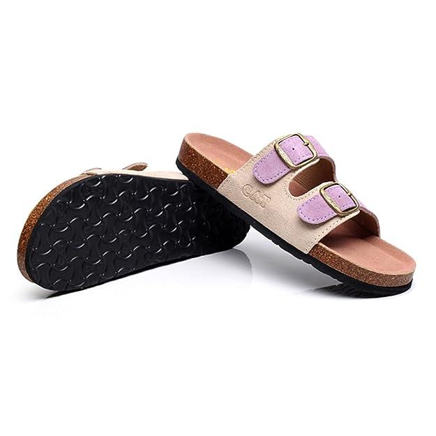 Sandalen Cork Eva-Sohle Clip-Zeh Hausschuhe Weiblich Sommer- Mode Flache Schuhe (Farbe : 1, Größe : EU36/UK3.5/CN35)