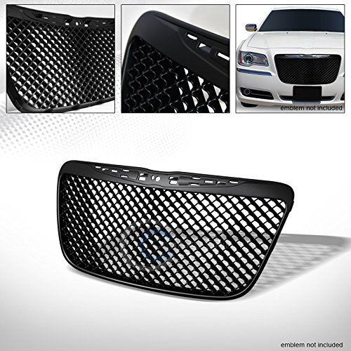 R&L Racing Matte Black Finished Sport Mesh Front Hood Bumper Grill Grille Cover Abs for 2011-2014 Chrysler 300 / 300C Models (Emblem Will Not Be Included)