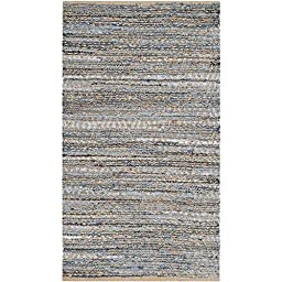 Safavieh Cape Cod Collection CAP351A Hand Woven Flatweave Geometric Diamond Natural and Blue Jute Runner (2\'3\