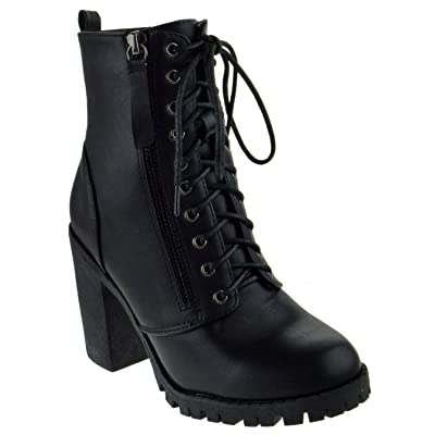 TOP Moda Michi 3 Womens Chunky Heel Platform Lug Sole Lace Up Booties | Ankle & Bootie