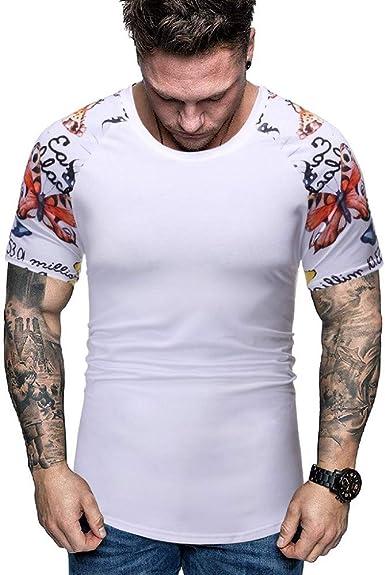 Camiseta de Manga Corta para Hombre con Estampado Camiseta de Cuello Redondo Confort para Hombre Camiseta Blanca Casual de Manga Corta para Hombre Camisetas Fitness Hombre Camisetas Deporte Hombre: Amazon.es: Ropa y