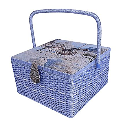 Best Gift Boxes for Mother,13.4x 13.4x 8 SAXTX Crafts Sewing Storage Box Containers Extra Large Double Layer with Tray,Handmade Embroidery Sewing Basket with Multiple Compartments
