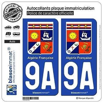 2 pegatinas para placa de matrícula coche 9A Argelia-Escudo francesa: Amazon.es: Coche y moto