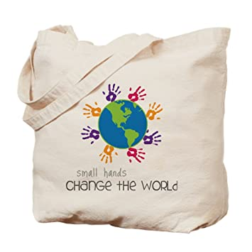 d8703c9a3 Image Unavailable. Image not available for. Color: CafePress - Small Hands  - Natural Canvas Tote Bag ...
