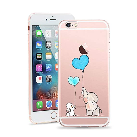 7f9f1d4373 iPhone 6 Plus Case, iPhone 6s Plus Case, JICUIKE Amusing Whimsical Design  Cute Animal Rabbit Pattern Print Clear TPU Soft Shell Rubber Silicone Skin  ...