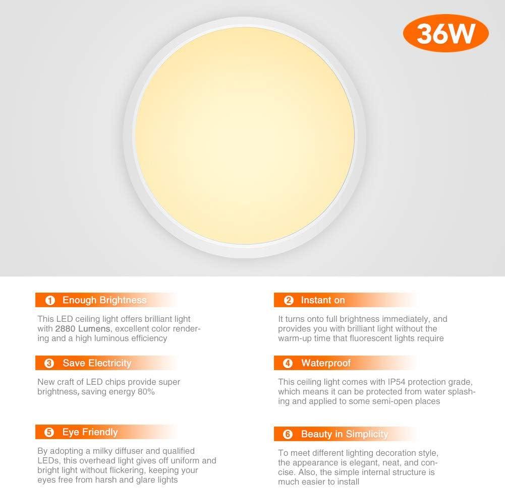 36W // 48W // 60W Cuisine Plafonniers LED 3000K // 4000K // 6000K plafonnier Rond LED ultra-mince Lampe de Plafond IP54 pour Salle de bain Entr/ée Chambre Couloir Blanc Chaud, 36W