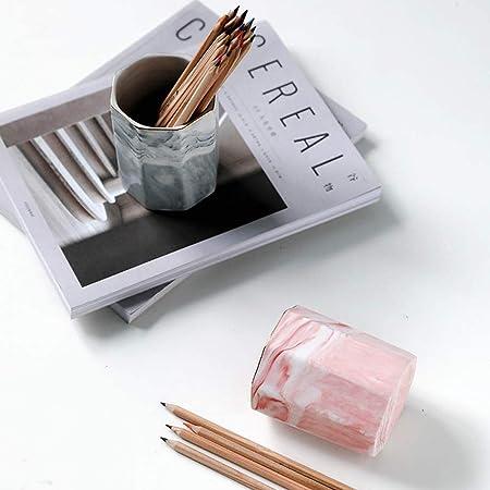 grigio Portapenne in ceramica Portavasi Modello in marmo Portamatite per trucco Porta pennelli Organizer per scrivania