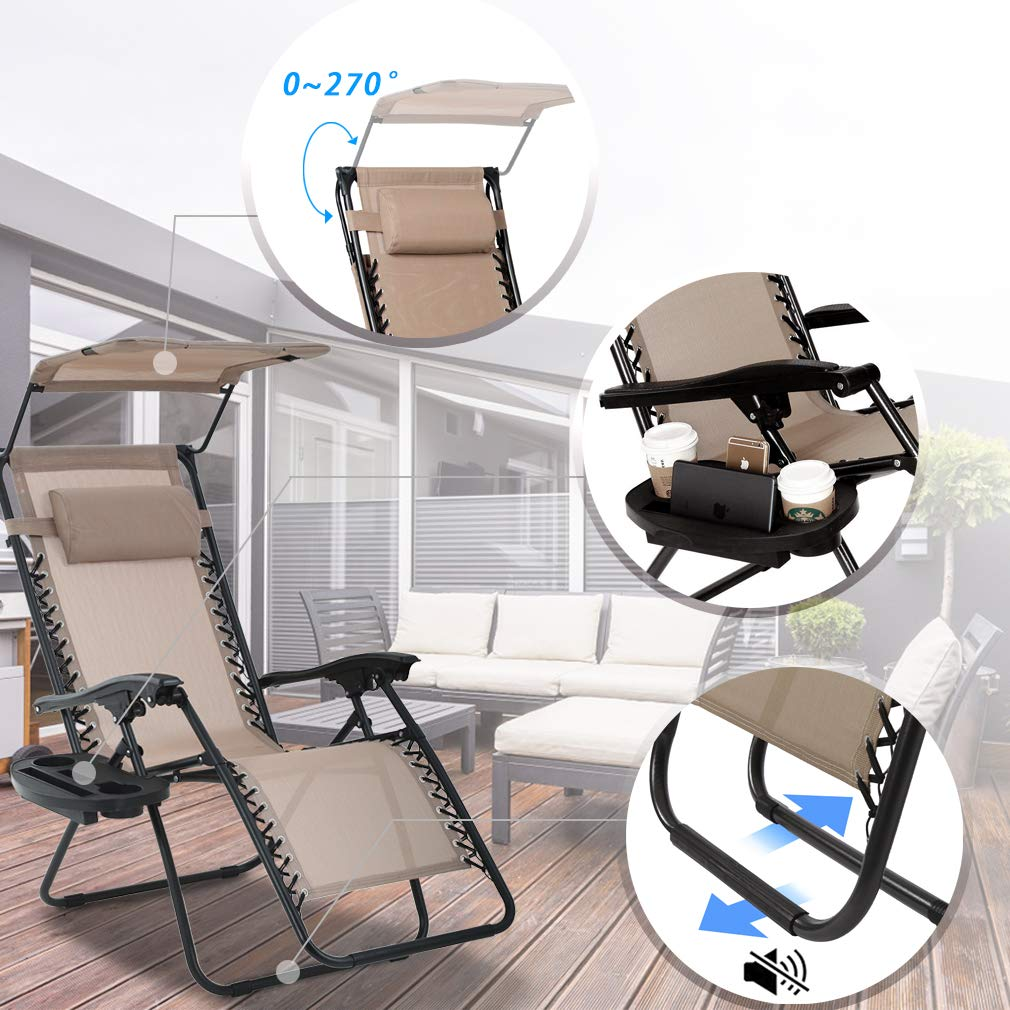 BestMassage Patio Chairs Zero Gravity Chair Lounge Chair 2 Pack Recliner for Outdoor Funiture W/Folding Canopy Shade and Cup Holder by BestMassage (Image #6)
