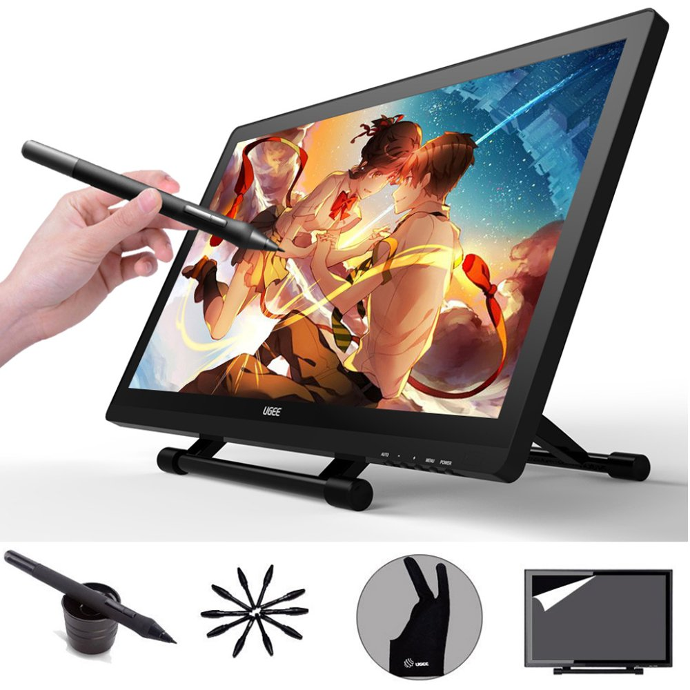 Ugee UG-2150 21.5 Inch IPS Screen Drawing Monitor with HD Resolution, 2 Original Pen, 1pc Drawing Glove and Screen Protector