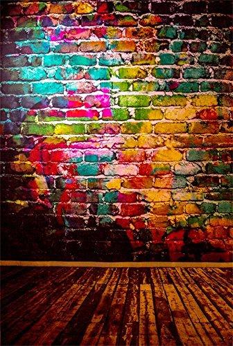 AOFOTO 4x6ft Graffiti Brick Wall Photography Background Grunge Colored Texture Backdrop Party Decoration Punk Music Rock Vocal Concert Trendy Hip Hop Stylish Art Portrait Photo Studio Props Wallpaper