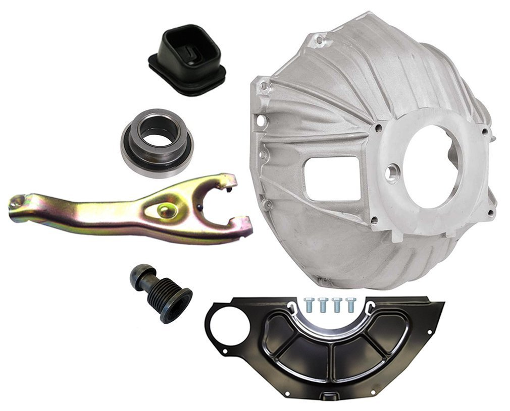 NEW SWS CHEVY ALUMINUM BELLHOUSING, FLYWHEEL INSPECTION COVER, THROWOUT BEARING, CLUTCH FORK, CLUTCH FORK BOOT & CLUTCH PIVOT BALL, GM 621 3899621 REPLACEMENT FOR SBC & BBC FOR 11'' MANUAL CLUTCH APPLICATIONS by Southwest Speed