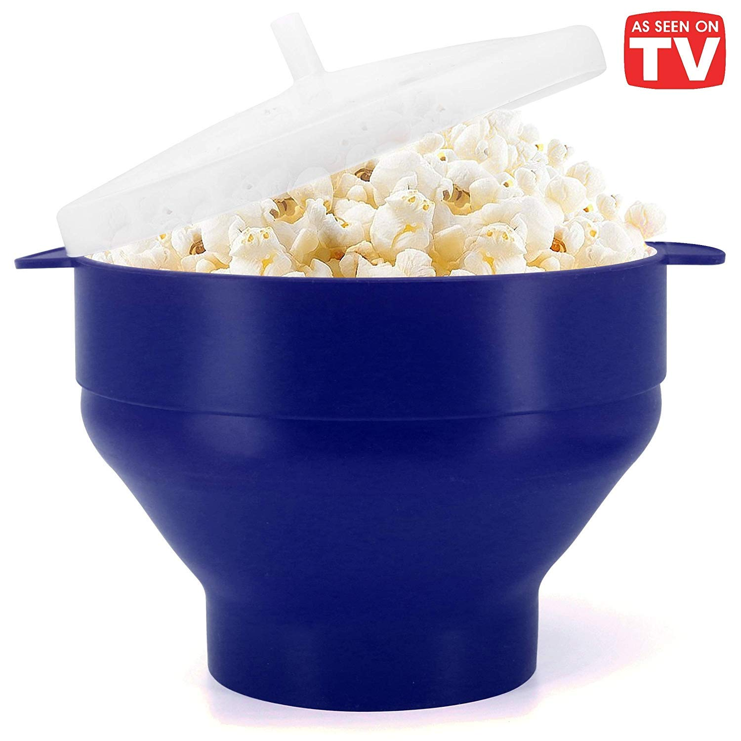 Microwaveable Silicone Popcorn Popper, BPA Free Collapsible Hot Air Microwavable Popcorn Maker Bowl, Use In Microwave or Oven (Blue) by KORCC