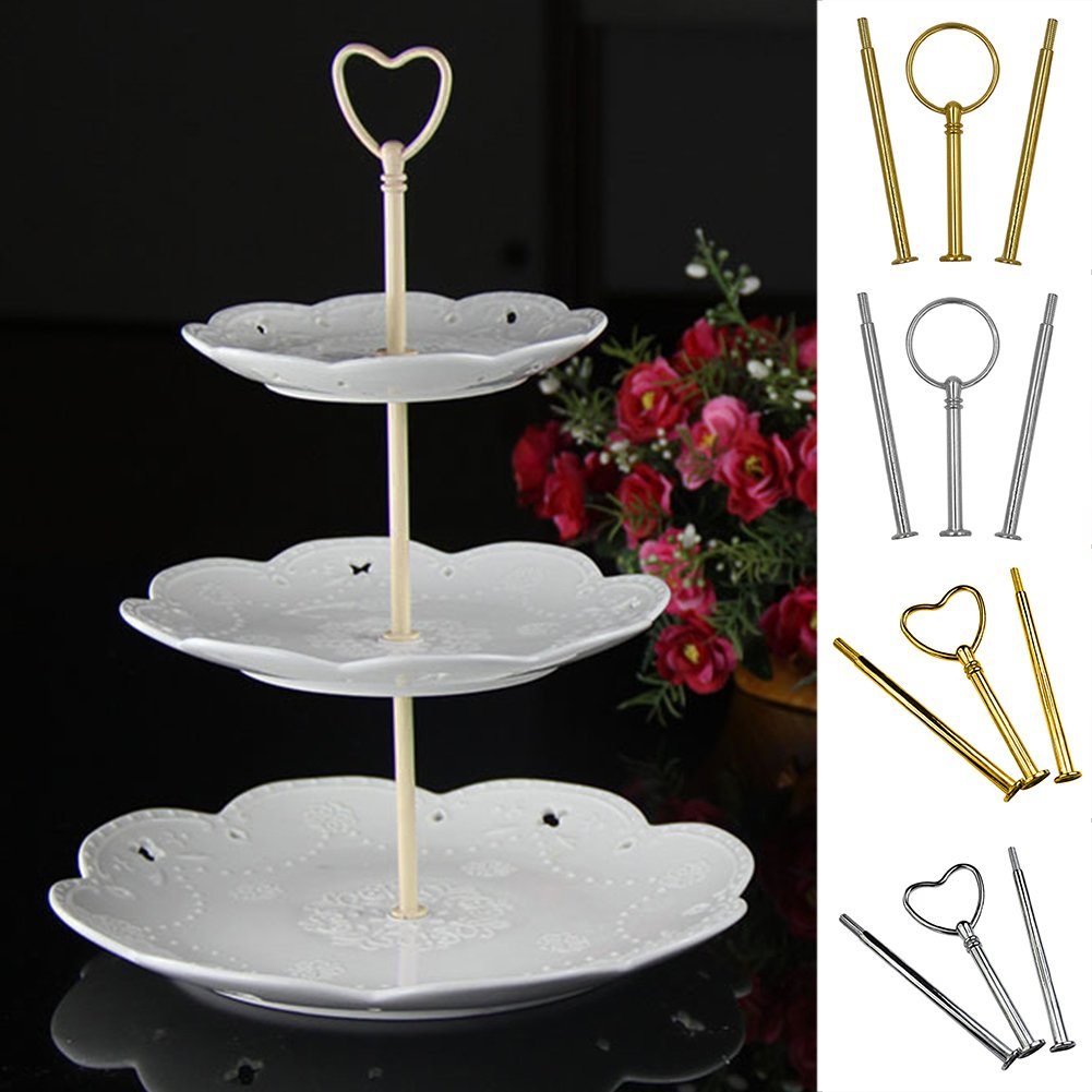 3-Tier Cake Stand Rods Cupcake Plate Display Holder Handle Fittings Hardware Rod Dessert Plate Stand Handle for Tea Shop Room Hotel(round,silver) by YOTHG (Image #8)