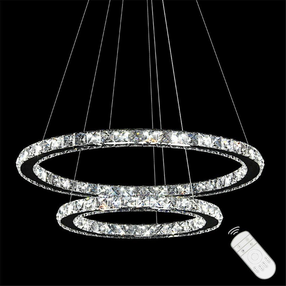 48W LED Kristall Design Hängelampe Deckenlampe Deckenleuchte Pendelleuchte Kreative Kronleuchter Zwei Ringe Kaltweiß Lüster 48w Dimmbar