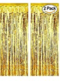 Kungfu Mall 2 Pack Gold Fringe Curtain 3' X 8' (36'' X 96'') Gold Door Fringe Perfect for Birthday Party Decorations, Anniversary Decorations