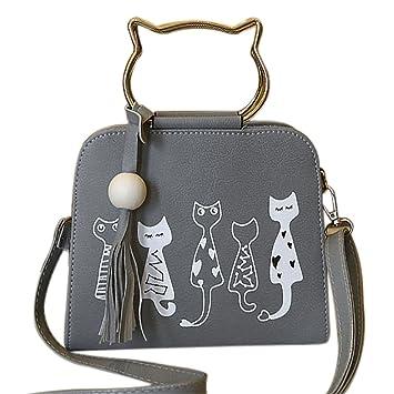 Onfahion Bolsos con Oreja de Gato para Mujer Bolsos de PU Cuero Bolsos con Manija de Metal Bolsos Crossbody Bolso de Hombro con Borla: Amazon.es: Equipaje