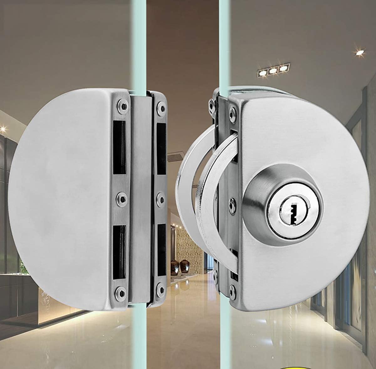 Qrity Cerradura para puerta de cristal, Cerradura de seguridad antirrobo de la puerta de cristal del acero inoxidable 8~12mm con las llaves Abra/cierre el uso casero del cuarto