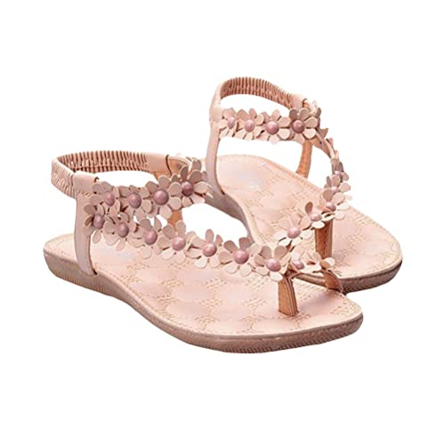 56d4f1c82c7f Fashion Beach Shoes Clip Toe Crotch Flower Flat Sandals for Women Girls  Size 41 (Pink)  Buy Online at Low Prices in India - Amazon.in