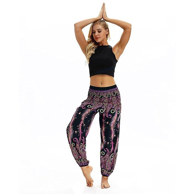 YpingLonk Mujers Pantalones de Yoga Hippie Sueltos Ocasionales para Hombres y Boho Aladdin Harem Transpirables con Cintura Alta Deportivas