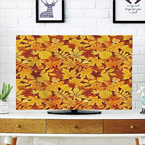 iPrint LCD TV dust Cover Strong Durability,Autumn,Shady Fall Oak Maple Tree Leaves on Faded Tones Seasonal Foliage Artwork,Earth Yellow Marigold,Picture Print Design Compatible 37