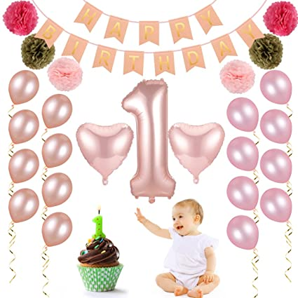 Suzzam 1st Birthday Decorations For Girl Baby Party Suppiles With Happy BannerPaper Tissue Pompoms Kits20 Pcs