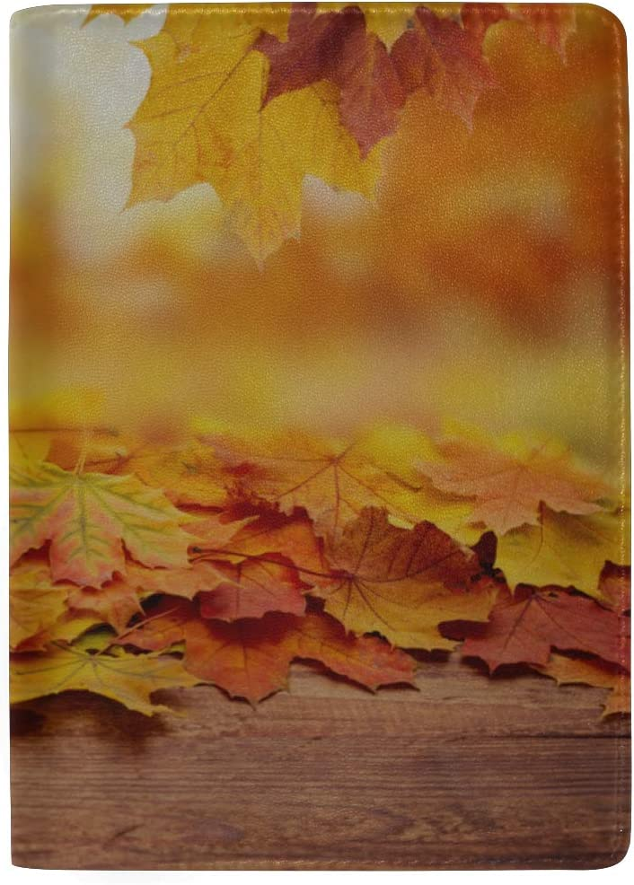 Autumn And Bright Yellow Leaves Blocking Print Passport Holder Cover Case Travel Luggage Passport Wallet Card Holder Made With Leather For Men Women Kids Family
