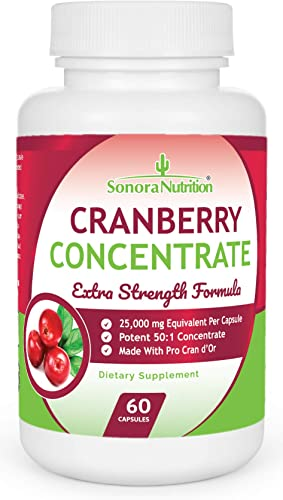 Sonora Nutrition Cranberry Pills Extra Strength Formula Equal to 25,000 mg of Fresh Cranberries, 60 Capsules