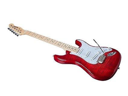 Monoprice indio Cali DLX de arce parte superior con funda para guitarra eléctrica, color rojo