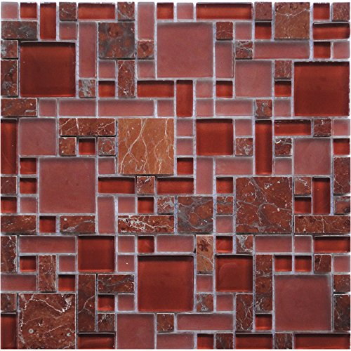 Royal Red (GPS06) Rose Marble Puzzle Glass Stone Backsplash Mosaic Tile for Kitchen Bathroom Wall (1 Box/11 Sheets) -