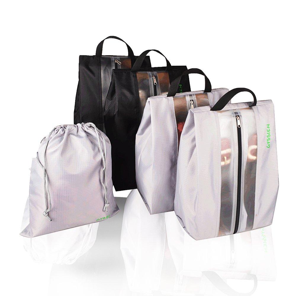 GYSSIEN Travel Shoes Bag Water Resistant Storage Organizer Bag Zipper Closure 4 Pack with Free Drawstring Bag