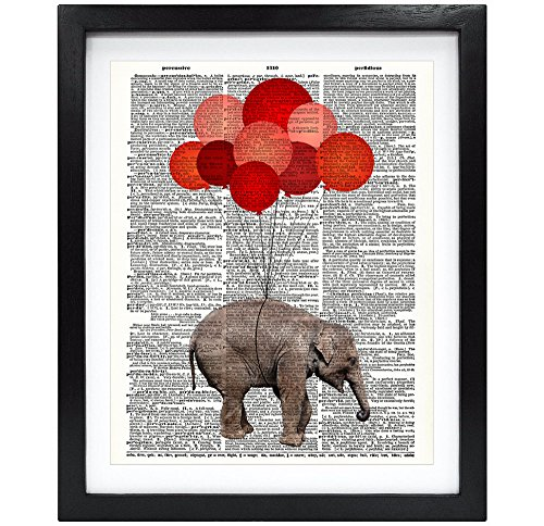 8X10 Unframed Baby Elephant With Red Balloons Upcycled Vintage Dictionary Art Print Book Art Print Home Decor Funny Prints Kids Wall Art V051 by Susie Arts
