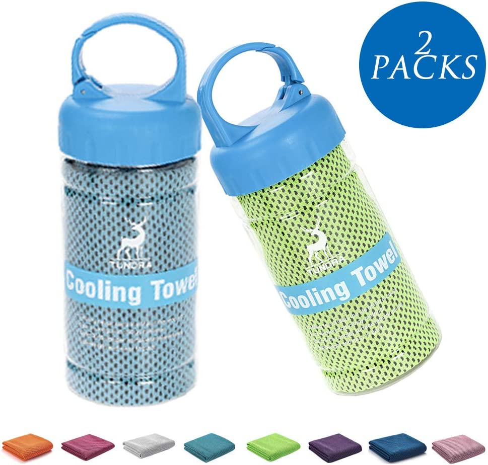 """Algerc Cooling Towel – 2 Packs Instant Cooling Towel Chill Feeling Sports Towel Relief, Super Soft and Breathable Towel with Special Bottle Package with Clip, for Gym, Sports and Fitness (40""""x 12"""")"""