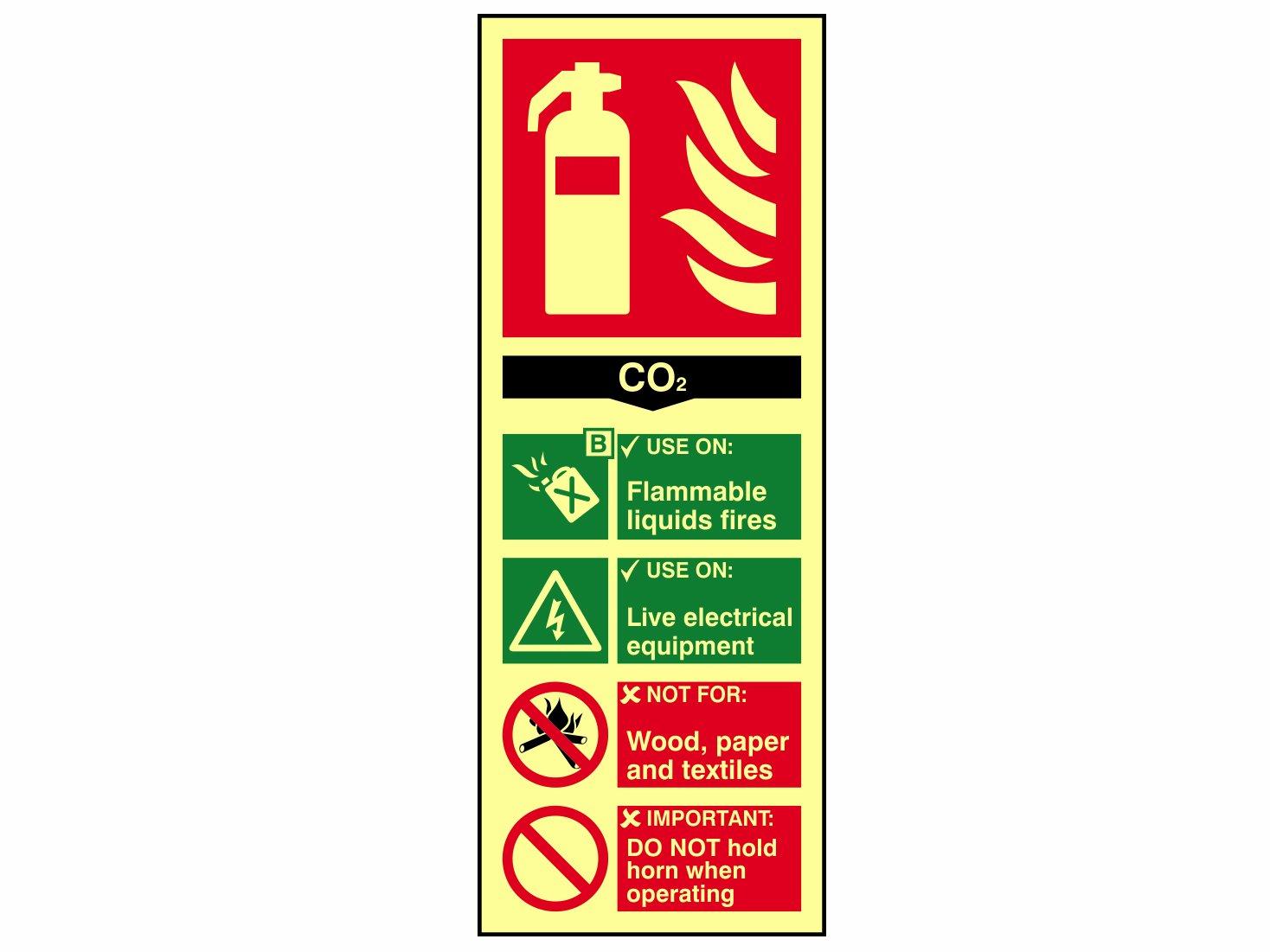 Scan 1592 - Cartel indicador de extintor CO2 PHO (75 x 200 mm)