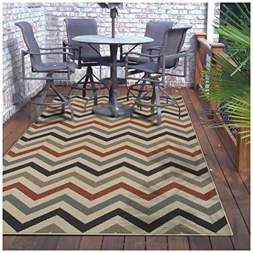 Superior Chevron Collection 5 x 8 Area Rug, Indoor Outdoor Rug with Jute Backing, Durable and Beautiful Woven Structure, Contemporary Multi-colored Zig-Zag Pattern