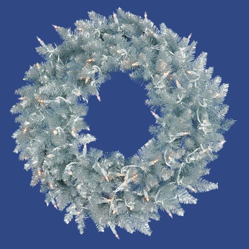 (VCO 6' Pre-Lit Silver Ashley Spruce Tinsel Christmas Wreath - Clear Lights)