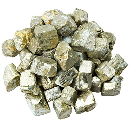 (SUNYIK Natural Raw Stones Rough Rock Crystals for Tumbling,Cabbing,Iron Pyrite,1pound(About 460 Gram) )
