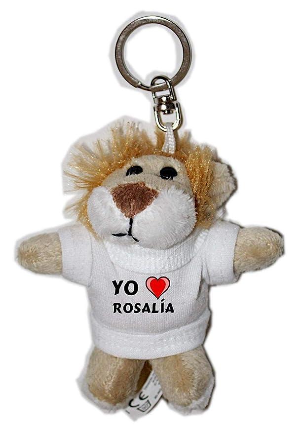 León de peluche (llavero) con Amo Rosalía en la camiseta (nombre ...
