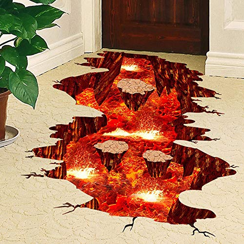 Fine 3D Floor Stickers Removable PVC Magic Floor Flame and Lava Wall Stickers Murals Wallpaper Art Decor for Home Walls Ceiling Boys Room Kids Bedroom Nursery School (Multicolor A) (Wall Flame Decal)