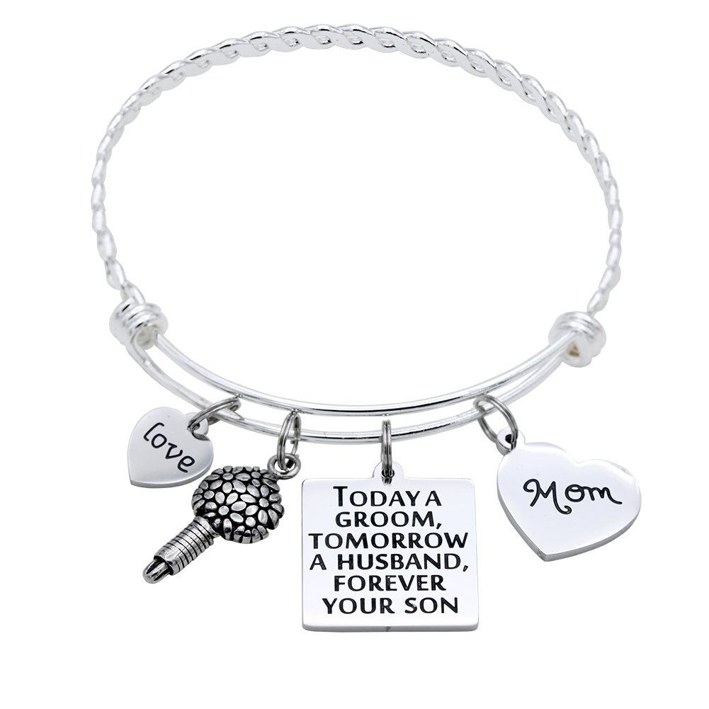 Melix Home Today a Groom Tomorrow a Husband Forever Your Son Jewelry, Gift for Mom From Son (White)