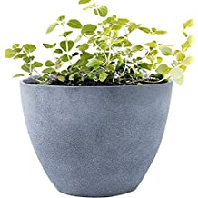 """Flower Pot Large 14.2"""" Garden Planters Outdoor Indoor, Unbreakable Resin Plant Containers with Drain Hole, Grey for Mothers Day Gift"""