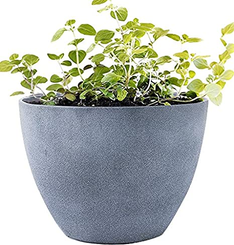 Flower Pot Large 14.2u0026quot; Garden Planters Outdoor Indoor, Unbreakable  Resin Plant Containers With Drain