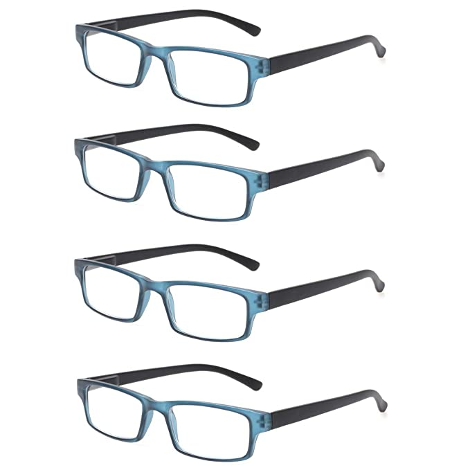 741bbcda7a Reading Glasses 4 Pairs Quality Fashion Rectangular Men Women Spring Hinge  Readers by JOSCHOO (4