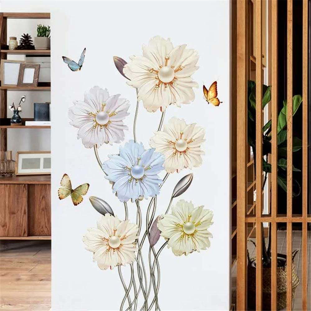 DERUN TRADING Flowers Floral Peel and Stick Wall Stickers Decals Murals Art Decor for Living Room Nursery Room Bedroom Office Bathroom Vinyl Removable Wall Decoration Romantic Beautiful Lovely